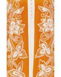 Oscar de la Renta - White Silk Embroidered Long Sleeved Caftan - Lyst