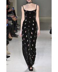 Luisa Beccaria - Black Embroidered Velvet Strap Dress - Lyst