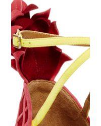 Aquazzura - Pink Suede Pineapple Back Sandals - Lyst