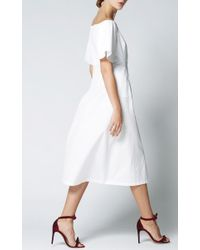 Katie Ermilio - White Flounce Sleeve Shirt Dress - Lyst