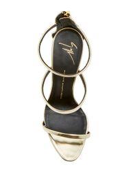 Giuseppe Zanotti - Black Shooting Platinum Three Strap Sandals - Lyst