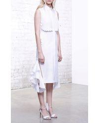 Jonathan Simkhai White Side Tie Ruffle Skirt Dress