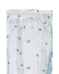 Luisa Beccaria - Blue Embroidered Tulle Blouse - Lyst