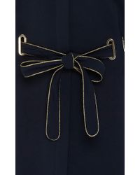 Alberta Ferretti - Blue Belted Stretch Cady Coat Dress - Lyst