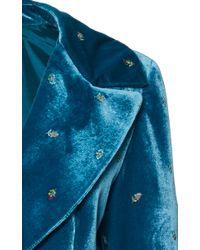 Luisa Beccaria - Blue Embroidered Velvet Blazer - Lyst