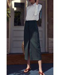 Rosetta Getty - Green High Rise Scuba Cotton Pencil Skirt - Lyst