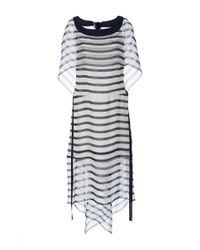 Alberta Ferretti - Multicolor Striped Chiffon Tiered Dress - Lyst