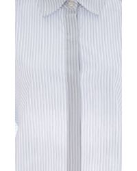 TOME - White Striped Cotton Open Tie Back Shirt - Lyst