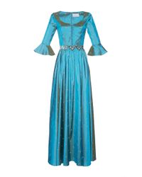 Luisa Beccaria - Blue Taffeta Embroidered Dress - Lyst