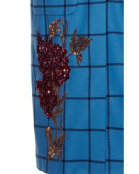 Luisa Beccaria - Blue Wool Checked Vest With Sequins Embroidery - Lyst