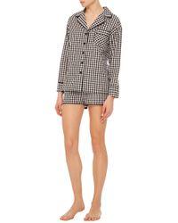 Sleeper White Black Gingham Pajama Set With Shorts