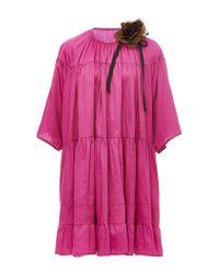 Cynthia Rowley Purple Cotton Ruffle Mini Dress