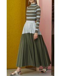 Lela Rose - Green Striped Funnel Neck Sweater - Lyst