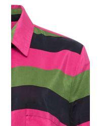 Isa Arfen - Black Stripe Silk Cotton Relaxed Shirt - Lyst
