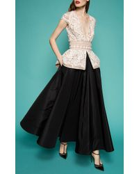 Naeem Khan - Black Lace Peplum Gown - Lyst