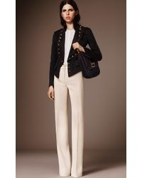 Burberry - White Tailored Twill Bootcut Trouser - Lyst
