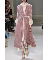 Luisa Beccaria - Pink Long Sleeve Velvet Wrap Dress - Lyst