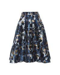 Paule Ka - Blue Flared Jacquard Skirt - Size 10 - Lyst