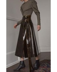 Beaufille Brown Pistol Buckle Wrap Skirt