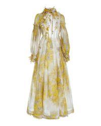 Zimmermann Yellow Botanica Printed Linen-silk Maxi Dress