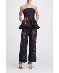Marchesa Black Wide Leg Lace Trousers