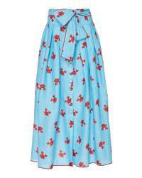 Gül Hürgel Blue Crab Print Tie-waist Linen Midi Skirt