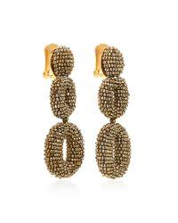 Oscar de la Renta | Metallic Beaded Double Oval P Earring | Lyst