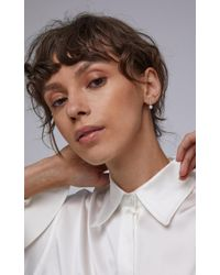 Mateo - Metallic Gold Mini Diamond Bar Pearl Single Earring - Lyst
