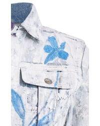 Ralph Lauren Blue Cropped Trucker Painted Jacket
