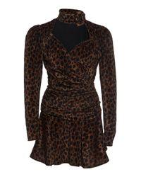 Attico Black Leopard Print Ruched Mini