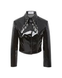 16Arlington Black Patent Leather Cropped Jacket