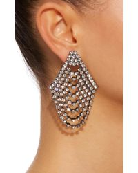 Jennifer Behr - White Seraphina Cascade Gunmetal-plated Swarovski Crystal Earrings - Lyst