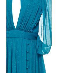 Prabal Gurung Blue Grecian Cape Gown