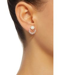 Colette - Pink Baby Moon 18k Rose Gold, Diamond And Pearl Earrings - Lyst