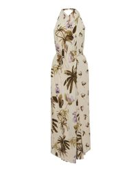 Vince Natural Mixed Tropical Garden Printed Crepe Dress