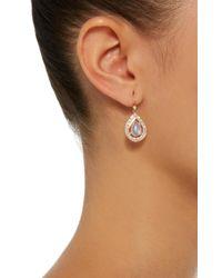 Misahara | Metallic Basa 18k Rose Gold, Rainbow Moonstone And Diamond Earrings | Lyst