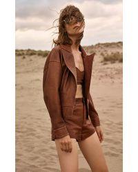 Zeynep Arcay Brown Leather Mini Shorts