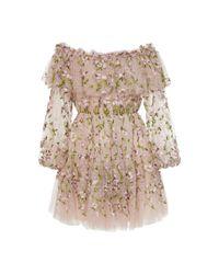 Giambattista Valli Multicolor Embroidered Techno Tulle Mini Dress