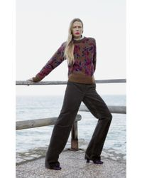 Ferragamo Multicolor Virgin Wool Floral Jacquard Sweater