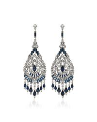 Ben-Amun - Blue Silver-tone Crystal And Sapphire Earrings - Lyst