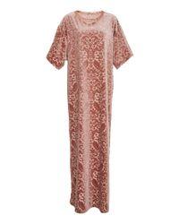 Anna Sui Pink Damask Velvet Knit Dress