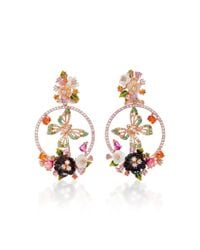 Anabela Chan - Metallic Butterfly Wreath 18k Gold Emerald And Mother Of Pearl Earrings - Lyst