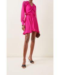 Alexis Pink Suzette Ruffled Chiffon Mini Dress