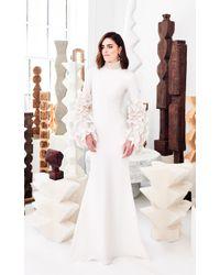Christian Siriano - White Pearl Ruffled-sleeve Gown - Lyst