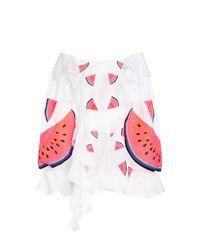 Yuliya Magdych White Batiste Watermelon Mini Dress