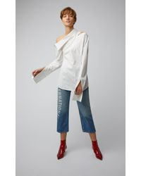 Monse White Off-the-shoulder Spliced Cotton-poplin Shirt