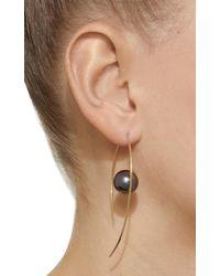 Mizuki - Metallic 14k Floating Marquis Tahitian Pearl Hoop Earrings - Lyst
