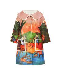 Stella Jean Multicolor Scenic-print Contrast-trimmed Twill Coat