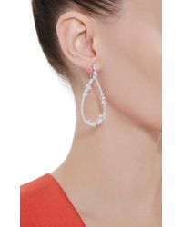 Fallon - Metallic Rhodium Floating Stone Teardrop Earrings - Lyst