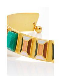 Paula Mendoza - Metallic Emerald And Gold Hexagon Choker - Lyst